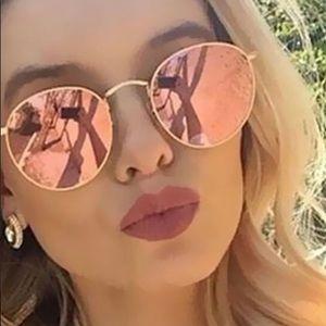 Pink Aviator Mirrored Sunglasses Gold Pink